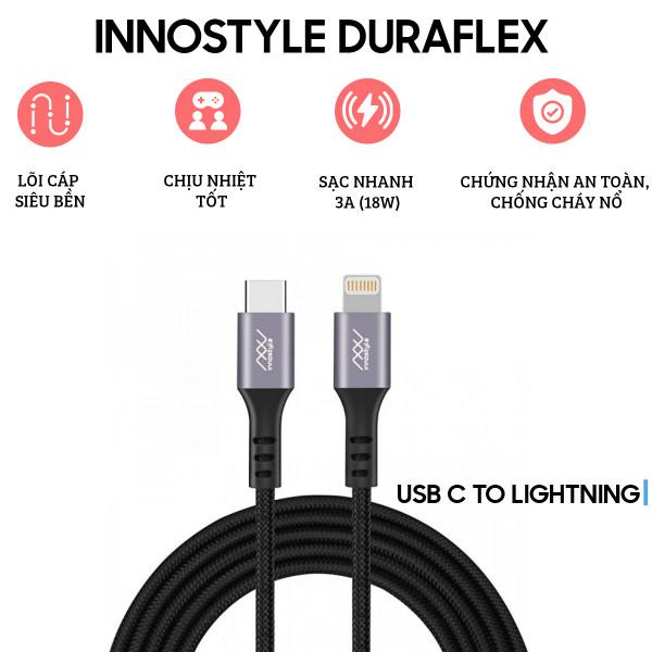 Cáp Sạc Innostyle Duraflex USB-C to Lightning 1.5m