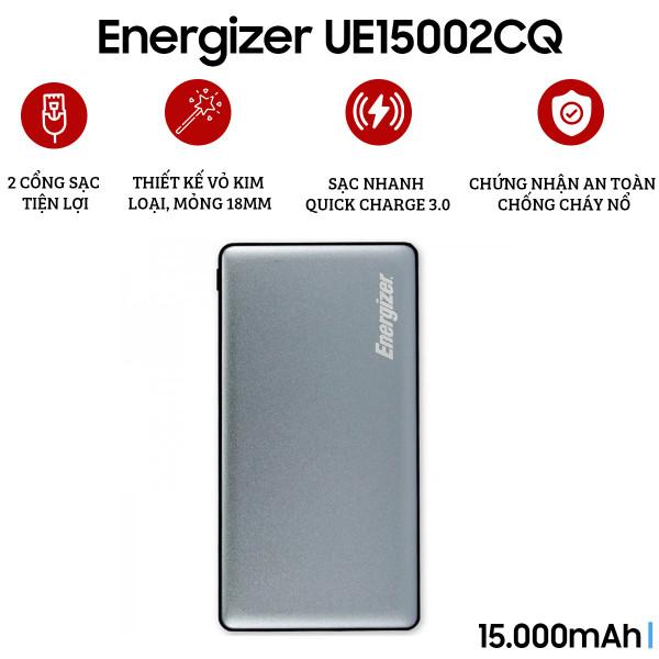 Pin sạc dự phòng Energizer 15.000 mAh QC 3.0 - UE15002CQ