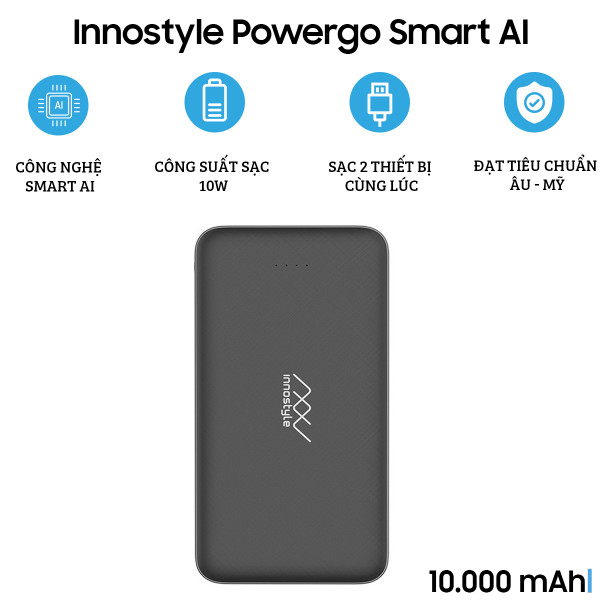Pin dự phòng Innostyle Powergo Smart AI 10.000 mAh