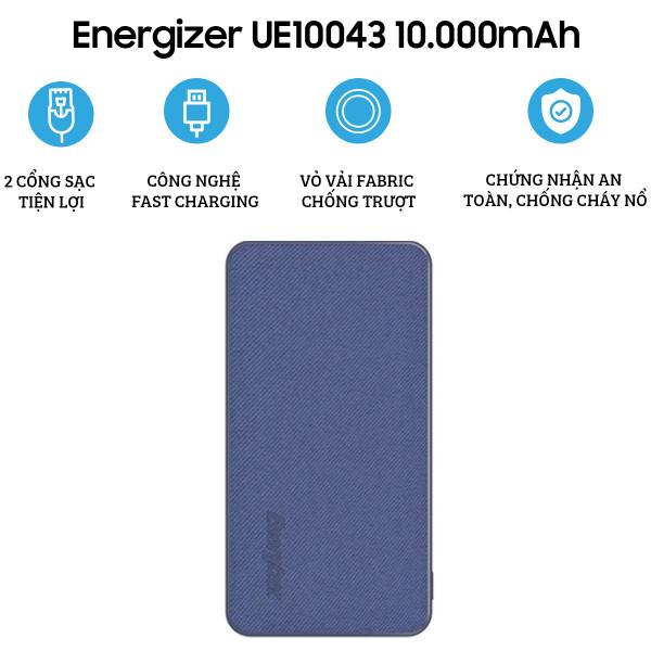 Pin dự phòng Energizer 10.000mAh UE10043BE