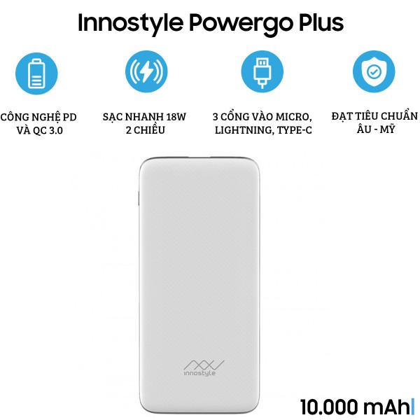 Pin dự phòng Innostyle Powergo Plus 10.000 mAh 18W