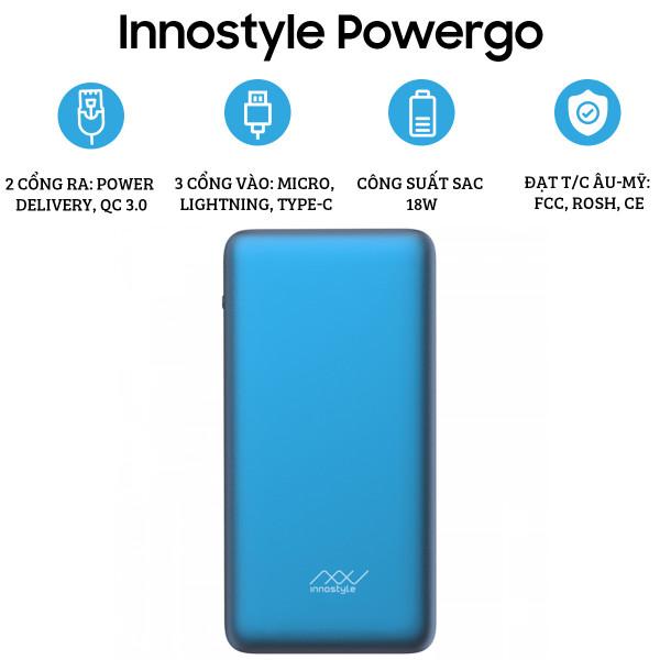 Pin dự phòng Innostyle Powergo Pro 10.000 mAh (18W)