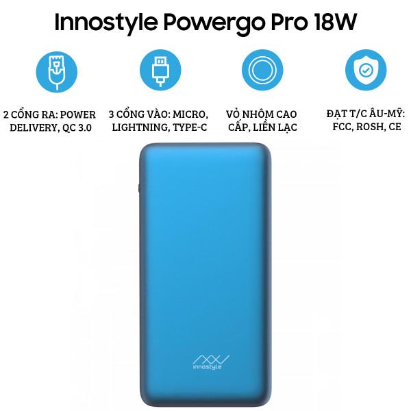 Pin dự phòng Innostyle Powergo Pro 10.000mAh 18W (Vỏ nhôm)