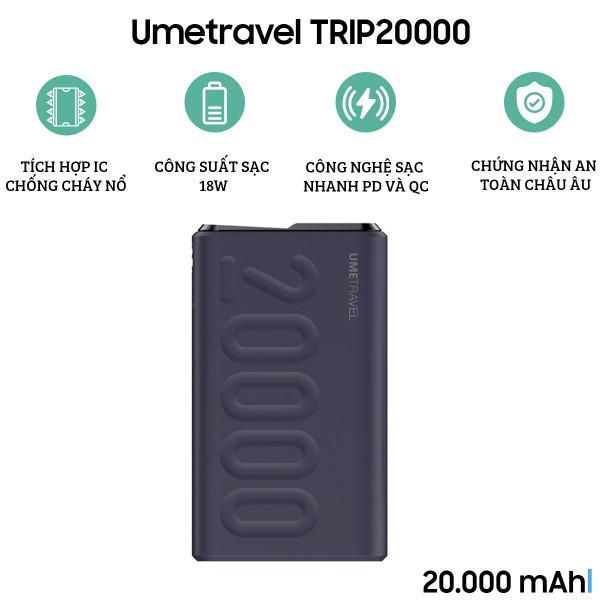 Pin dự phòng Umetravel TRIP20000 20000mAh (Có sạc nhanh)