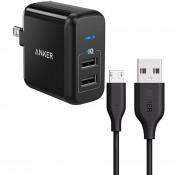 Sạc 2 Cổng Anker PowerPort 2 - 24W + Cáp Micro USB 0.9m
