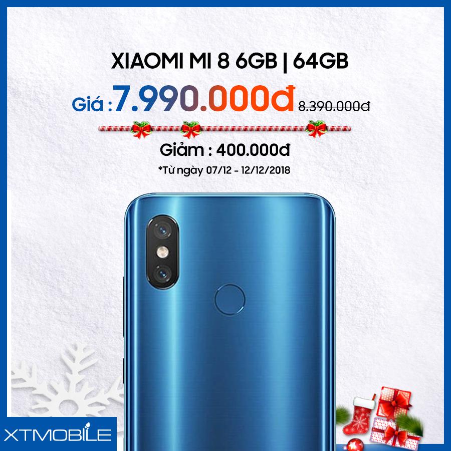 Xiaomi Mi 8 64GB giảm 400 ngàn tại XTmobile