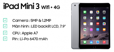 iPad Mini 3 Wifi + 4G likenew 99%