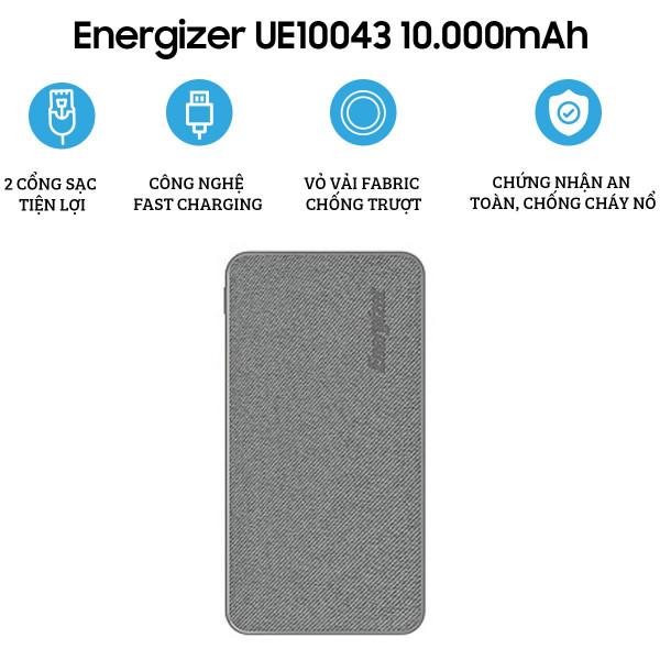 Pin dự phòng Energizer 10.000mAh UE10043GY